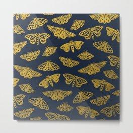 Golden Moths in Navy Metal Print