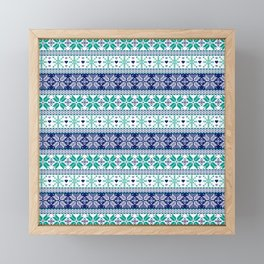 Blue & Turquoise Winter Fair Isle Pattern Framed Mini Art Print