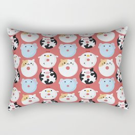 Cute Animal Characters Donuts Illustration  Rectangular Pillow
