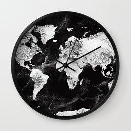world map marble 4 Wall Clock
