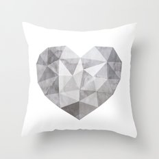 Fractal heart in shades of gray  Throw Pillow