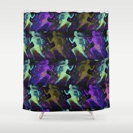 Watercolor women runner pattern on dark background Shower Curtain