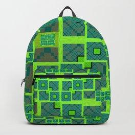 Retro Techno Glitch Quilt Green Print Backpack