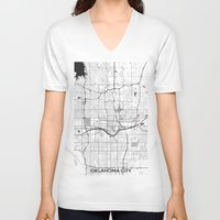 oklahoma V-neck T-shirts featuring Oklahoma City Map Gray by City Art Posters