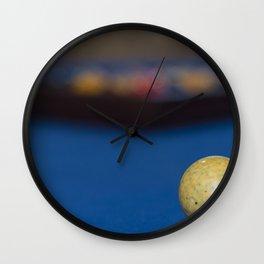 Billiard balls on blue table Wall Clock