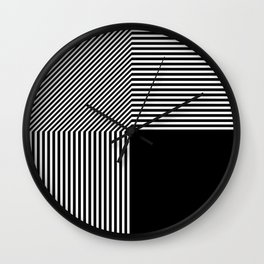 Geometric abstraction, black and white Wall Clock