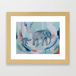 Mother and Baby Elephant Framed Art Print