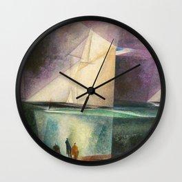 Sailing Yachts in Purple Twilight by Lyonel Feininger Wall Clock