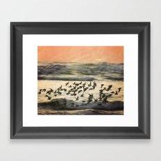 Flock over ocean Framed Art Print