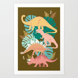 Jungle Dinosaurs on Gold Art Print