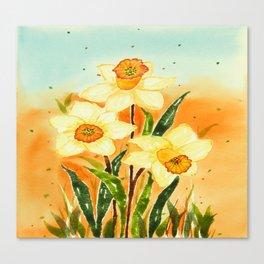 Yellow Daffodils Watercolor Design Canvas Print