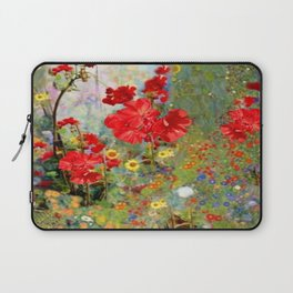 Red Geraniums in Spring Garden Landscape Painting Laptop Sleeve