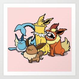 Pokémon - Number 133, 134, 135 and 136 Art Print