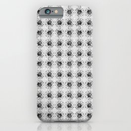 Gray Chevron Daisy Floral Flowers Illustration on Bokeh iPhone Case