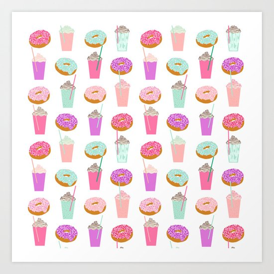 Coffee and Donuts pastel pink mint cute pattern gifts for valentines day love Art Print