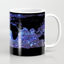 world Map Blue Swirl Galaxy Sparkle Coffee Mug