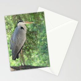 Grey heron (Ardea Cinerea) amongst trees Stationery Cards