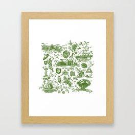 "Zelda ""Hero of Time"" Toile Pattern - Kokiri's Emerald Framed Art Print"