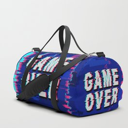 Game Over Glitch Text Distorted Duffle Bag