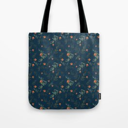 The floral style pattern on a blue background . Tote Bag