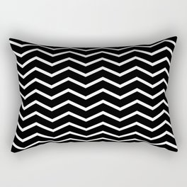 White Chevron On Black Rectangular Pillow