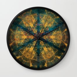 Tribal mandala in blue and gold Wall Clock