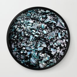 cyan black broken glas Wall Clock