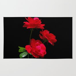 Red roses on black background Rug