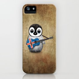 Baby Penguin Playing Icelandic Flag Acoustic Guitar iPhone Case
