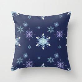 Midnight snowflakes pattern  Throw Pillow