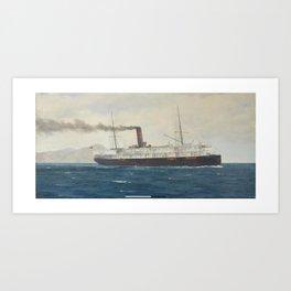 Horatio Gerardo Garcia (Chilean, 1878-1942) The passenger ship S.S. Fresia headed out to sea Art Print