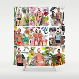 Beard Boy: Summer of fun Shower Curtain