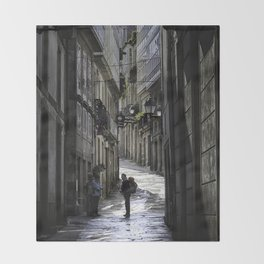 Pilgrim in Santiago de Compostela; after the walk Throw Blanket