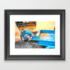 the blue scooter Framed Art Print