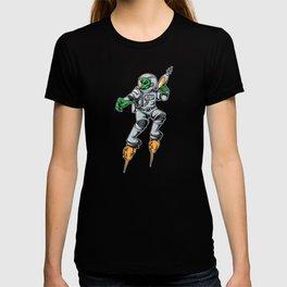 Alien in an astronaut suit with laser gun T-shirt