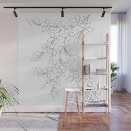 Minimal Wild Roses Line Art Wall Mural