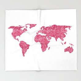 World Map Hot Pink Glitter Sparkles Throw Blanket
