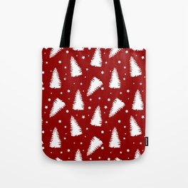 White Trees on Red Background Tote Bag