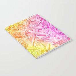 Bright Gradient (Hot Pink Orange Green Yellow Blue) Geometric Pattern Print Notebook