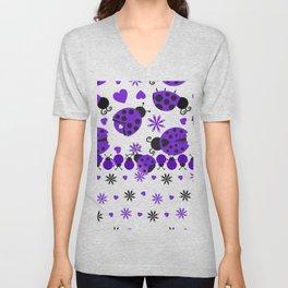 Cute Ladybugs Purple Unisex V-Neck