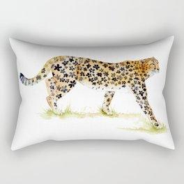 Flower Pattern Cheetah Rectangular Pillow