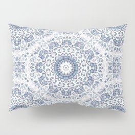 Grayish Blue White Flowers Mandala Pillow Sham