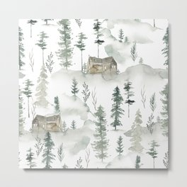 Winter scene houses and trees pattern Metal Print