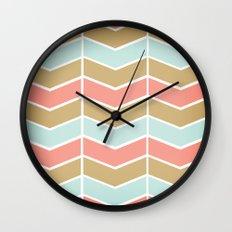 Mint.Coral.Gold Chevron Wall Clock