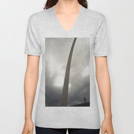 Gateway Arch with figure Unisex V-Neck