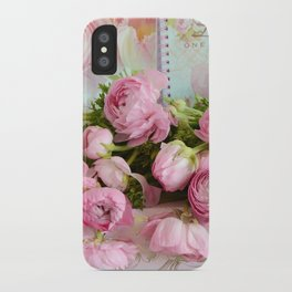 Shabby Chic Cottage Pink Floral Ranunculus Peonies Roses Print Home Decor iPhone Case