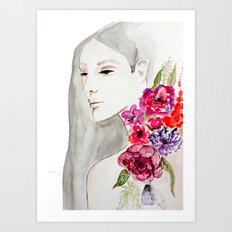 Face&flowers Art Print