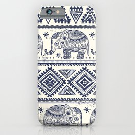 Vintage ethnic aztec with lovely elephants hand drawn illustration pattern iPhone Case