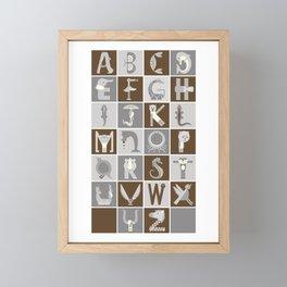 Neutral Vertical Animal Alphabet (Complete Poster) Framed Mini Art Print