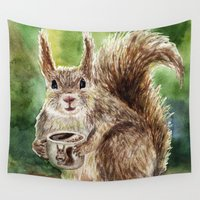 squirrel Wall Tapestries featuring Squirrel by Anna Shell